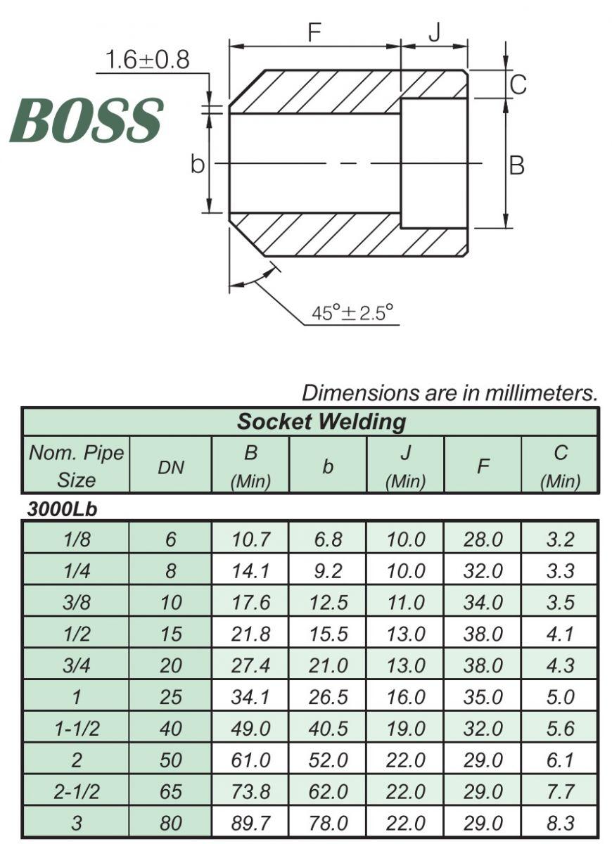 Thông số kĩ thuật BOSS SOCKET WELD #3000 A105 ASME